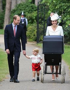 European Royals on Twitter:  Christening of Princess Charlotte of Cambridge, July 5, 2015-the Cambridge Family-William, Catherine, George and Charlotte (in her pram)