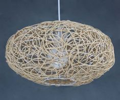 Oval Rattan and Steel Frame Pendant Lamp