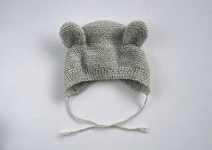 Ravelry: Bearly Bonnet pattern by Pure Stitches Baby Booties Knitting Pattern, Baby Boy Knitting Patterns, Baby Hats Knitting, Knitting For Kids, Knitting Designs, Baby Patterns, Knitting Projects, Knitted Hats, Crochet Patterns