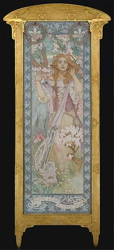 """Maude Adams (1872–1953) as Joan of Arc Alphonse Mucha  (Czech, Ivančice 1860–1939 Prague) Date: 1909 Medium: Oil on canvas """"This picture depicts the American actress Maude Adams in the role of Joan of Arc in Friedrich Schiller's Die Jungfrau von Orleans (The Maid of Orleans), in which she performed at Harvard University Stadium on June 22, 1909."""" http://www.metmuseum.org/collection/the-collection-online/search/437169"""