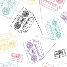 80s music fabric by oleynikka on Spoonflower - custom fabric