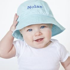 Blue Personalized Bucket Sun Hat for Baby and Toddler BOYS - BLUE Embroidery #Melondipity