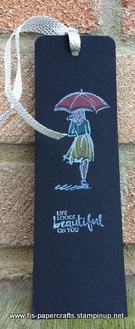 Beautiful You stamp set, white embossing powder and the new Stampin Up watercolor pencils colored on the black cardstock