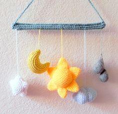 Crochet Amigurumi mobile pattern - From the sky - Mobile tutorial PDF www.etsy.com