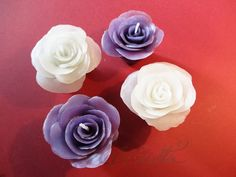 Small White and Violet Rose Candles by Helviriitta.deviantart.com on @DeviantArt