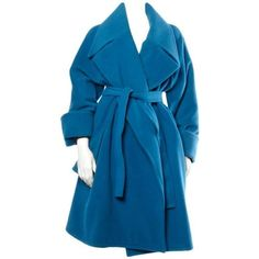 Preowned Karl Lagerfeld Vintage Blue Wool + Alpaca Coat ($650) ❤ liked on Polyvore featuring outerwear, coats, blue, oversized coat, karl lagerfeld, sash belt, blue wool coat and blue coat
