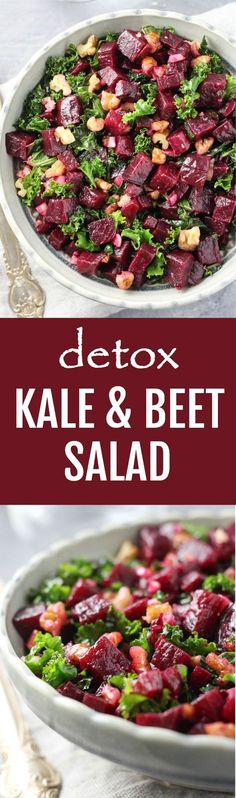 This kale and beet salad is chock-full of healthy nutrients. It's made with superfoods such as beets, kale, walnuts, garlic, and olive oil. Healthy, delicious, and very easy to make. #beets #kale #vegan #cleaneating #mealprep #salad #recipe #plantbased #healthy #realfood