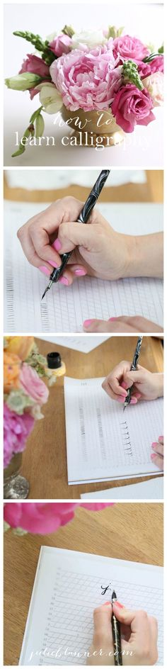 Learn calligraphy online with this free step-by-step series complete with printable worksheets!