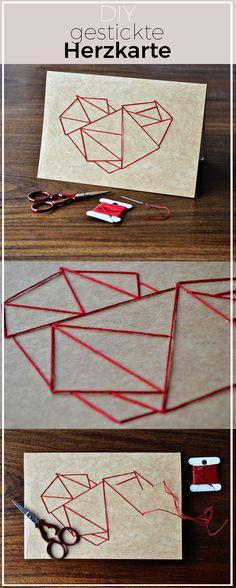 Karte mit Herz besticken - sticken lernen leicht gemacht