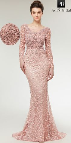 NEW! Stunning Lace Scoop Neckline Long Sleeves Mermaid Evening Dress With Beadings