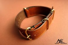Leather NATO strap with hand made brass hardware. 22mm www.mkleathers.pl