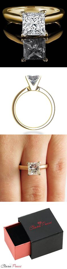 CZ Moissanite and Simulated 92868: 0.6Ct Simulated Princess Cut Solitaire Engagement Wedding Ring 14K Yellow Gold -> BUY IT NOW ONLY: $123.49 on eBay!