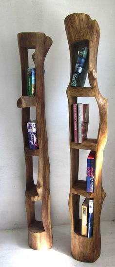 Reclaimed logs as bookshelves.