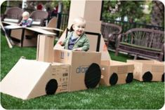 20 Awesome Ways to Recycle Cardboard Box - Cardboard Train Kids Crafts, Cardboard Crafts Kids, Recycle Cardboard Box, Used Cardboard Boxes, Projects For Kids, Diy For Kids, Diy Projects, Cardboard Train, Cardboard Toys