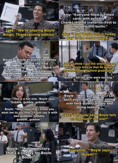 """When the squad plays Boyle Bingo on Thanksgiving: 29 """"Brooklyn Nine-Nine"""" Cold Opens That Are Even Funnier The Time Bingo, Hunger Games, Dianne Wiest, Brooklyn Nine Nine Funny, Charles Boyle, Cold Open, Reading Task Cards, First Grade Sight Words, Whole Brain Teaching"""