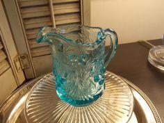 Vintage BLUE Pressed GLASS CREAMER  by VintageCreativeAccen