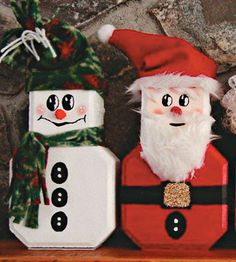 free pattern & instructions... Paver Snowman and Santa