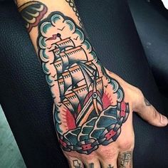Traditional ship tattoo on the hand and forearm Hand Tattoos, Tattoos Mandala, Tattoos Geometric, Finger Tattoos, Body Art Tattoos, Sleeve Tattoos, Nautical Tattoos, Geometric Mandala, Traditional Ship Tattoo