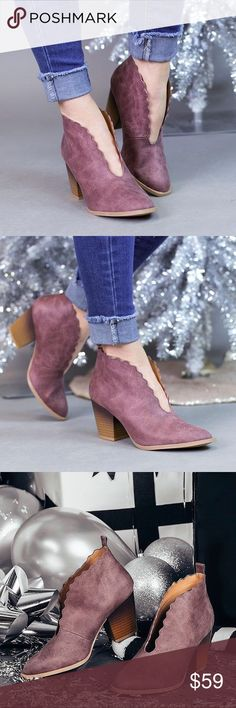 """🆕Kira Booties in Rose The Kira Bootie screams attention to detail! These ankle boots were made for comfort in mind and are truly unique in their scalloped design. Add flair to your everyday skinnies and t-shirt, or your night on the town go to. It's all about the little details!  Distressed vegan leather w/ an open top wave cut Slip on style Heel Height: 2"""" RUNS 1/2 SIZE BIG. IF YOU WEAR SIZE 7 GO WITH SIZE 6.5. Also available in black 💋 A Mermaid's Epiphany Shoes Ankle Boots & Booties"""
