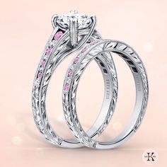 A perfect blend of Genuine Pink Sapphires and Sparkling Diamonds. Make this wedding set yours ONLY at Amour Jewellers.   Kirk Kara - Forever Captivating.   #engagementring #bling #solitaire #halo #elegant #gorgeous #diamonds #bling #yeg #wedding #style #weddingband #style #princesscut #takeyourpick #love #happilyeverafter #edmonton #ido #bridetobe #marriage #alberta #proposals #brilliant #elegance #beautiful #southgatecentre #eccmall #yegfashion #amourjewellersedm