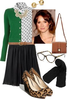 A fashion look from February 2013 featuring green cardigan, white collar shirt and pleated skirt. Browse and shop related looks. Casual Work Outfits, Summer Fashion Outfits, Work Attire, Office Outfits, Work Fashion, I Love Fashion, Spring Outfits, Fashion Models, Cool Outfits