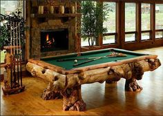 Gnarly Wood Pool Table and Cue Holder