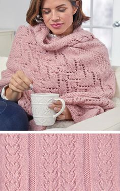 Free Knitting Pattern for Warming Hearts Sofa Shawl - Rectangular wrap with lace. - knitting wrap , Free Knitting Pattern for Warming Hearts Sofa Shawl - Rectangular wrap with lace. Free Knitting Pattern for Warming Hearts Sofa Shawl - Rectangular . Knit Wrap Pattern, Crochet Cowl Free Pattern, Lace Knitting Patterns, Shawl Patterns, Knitting Designs, Free Knitting, Knit Crochet, Knitting Projects, Crochet Shawls And Wraps