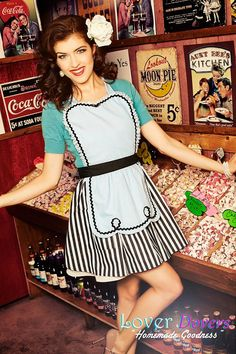 retro apron blue 50s DINER WAITRESS  ice by loverdoversclothing, $29.99