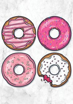 Donut Print by GemmaLouiseShop on Etsy Cute Food Drawings, Cute Kawaii Drawings, Art Drawings, Cute Doodle Art, Cd Art, Buch Design, Cupcake Art, Dibujos Cute, Graffiti Lettering