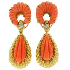 Van Cleef & Arpels Carved Coral Diamond  Earrings c1960s