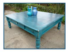 Turquoise Coffee Table With Black Glaze