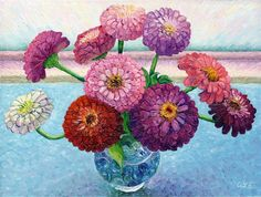 Still Life with Zinnias by Audra Ziegel | oil painting | Ugallery Online Art Gallery