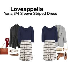 """""""Yana 3/4 Sleeve Striped Dress"""" by hanger731x on Polyvore.  Love the dress and definitely the blazer!"""