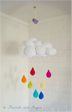 Baby mobile - Nursery Mobile - Crochet Mobile -  Cloud mobile with rainbow raindrops