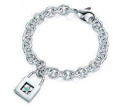 Tiffany Green Star Lock Charm and Bracelet