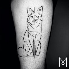 Mo Ganji Iranian/German tattoo artist lives and works in Berlin, creates amazingly badass single line drawing tattoos. minimalist line tattoos Fox tattoo, animal line drawing tattoo  https://instagram.com/moganji/ https://www.facebook.com/moganjitattoo/timeline http://www.moganji.com/