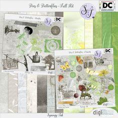 Synergy Ink | Bees & Butterflies Full Kit Een lente- en tuingerelateerde kit met 12 brushes, 12 papers en meer dan 40 elementjes in zachte groene en grijze kleuren. Past perfect bij de Dutch Choice van mei 2017.