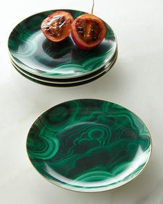 Four Malachite Canape Plates by L\'Objet at Neiman Marcus.