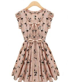 V-Ausschnitt Chiffon Schmetterlingsknoten Verzierung Kleid A-Linie