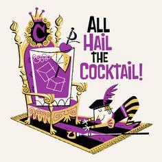 All-Hail-the-Cocktail from artist Derek Yaniger Retro Art, Vintage Art, Rat Pack Party, Art Beat, Tiki Art, Batman The Animated Series, Retro Cartoons, Retro Illustration, Mid Century Art