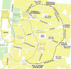 Puertas de Madrid sobre parcelario actual.