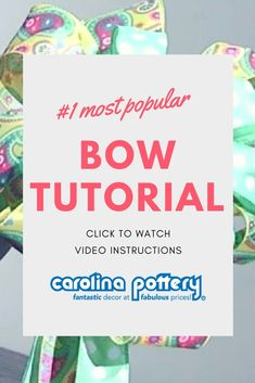 bow tutorial, double stacked bow, Carolina Pottery, how to make a bow Diy Bow, Diy Ribbon, Ribbon Crafts, Wreath Crafts, Ribbon Bows, Ribbon Flower, Ribbon Hair, Fabric Flowers, Ribbons