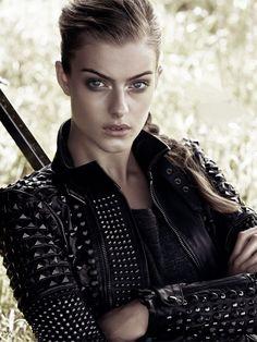 "designerleather: "" Lone Praesto for elle sweden - Diesel Black Gold studded leather jacket "" Look Rock, Rock Style, Punk Fashion, Leather Fashion, Catwalk Fashion, Fashion Top, Fasion, Couture Fashion, High Fashion"