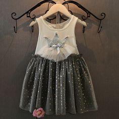 Girls Summer Royal Crown Princess Dress Gray
