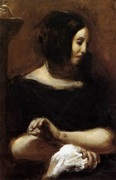 portrait of George Sand by Eugène Delacroix Art History News: Impressionist Treasures: The Ordrupgaard Collection George Sand, William Turner, Ferdinand, Delacroix Paintings, Eugène Delacroix, Romanticism Artists, Oil On Canvas, Canvas Art, Strong Women