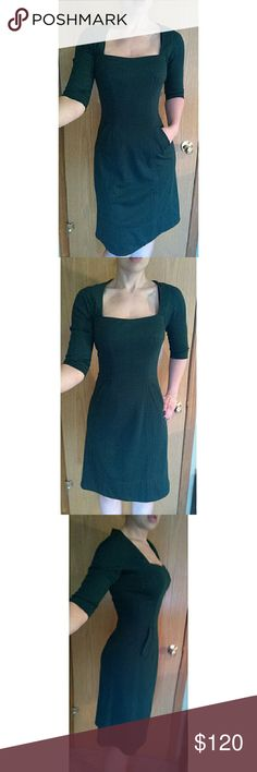 """Byron Lars Anthropologie Green Sheath Pocket Dress Beautiful Bryon Lars Dress in green. Square neckline. Darts at waist. Pockets at sides. Zips up. Looks fantastic with a long necklace and ankle strap pumps. Perfect for dinner out or a slightly causal formal outing.  Excellent condition.  Size 4. Runs a little big, best fits a 6.  Measurements taken laying flat: Bust: 17"""" Waist: 14"""" Hips: 19"""" (relatively open due to style) Length: 41"""" ***Material allows for stretch*** Byron Lars…"""