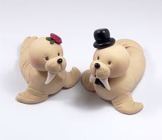 OMG Custom Wedding Cake Topper, Walrus Couple, Personalized Figurines, Made To Order