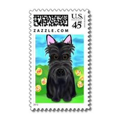 Scottie Dog Art U.S. Postage Stamps