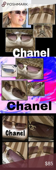 Chanel Gold, CZ's & CC & Lilac Lenses Sunnies 7828 Authentic Chanel 4104-B, rimless, lilac lenses, gold tone metal frames with iconic double C Logo and rhinestones on each lens. Preowned therefore not flawless, these sunglasses are in pretty good condition. Both the frames and lenses have scratches from wear. None that impair vision or mar wear.  Each CC logo is missing one crystal. The size is 62-15-120. Serial # etched in right lens. Model info is on inside of left arm. Comes with Chanel…