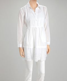 Gorgeous White Eyelet Pin Tuck Tunic by Mystery on #zulily today! ONLY $24.99!